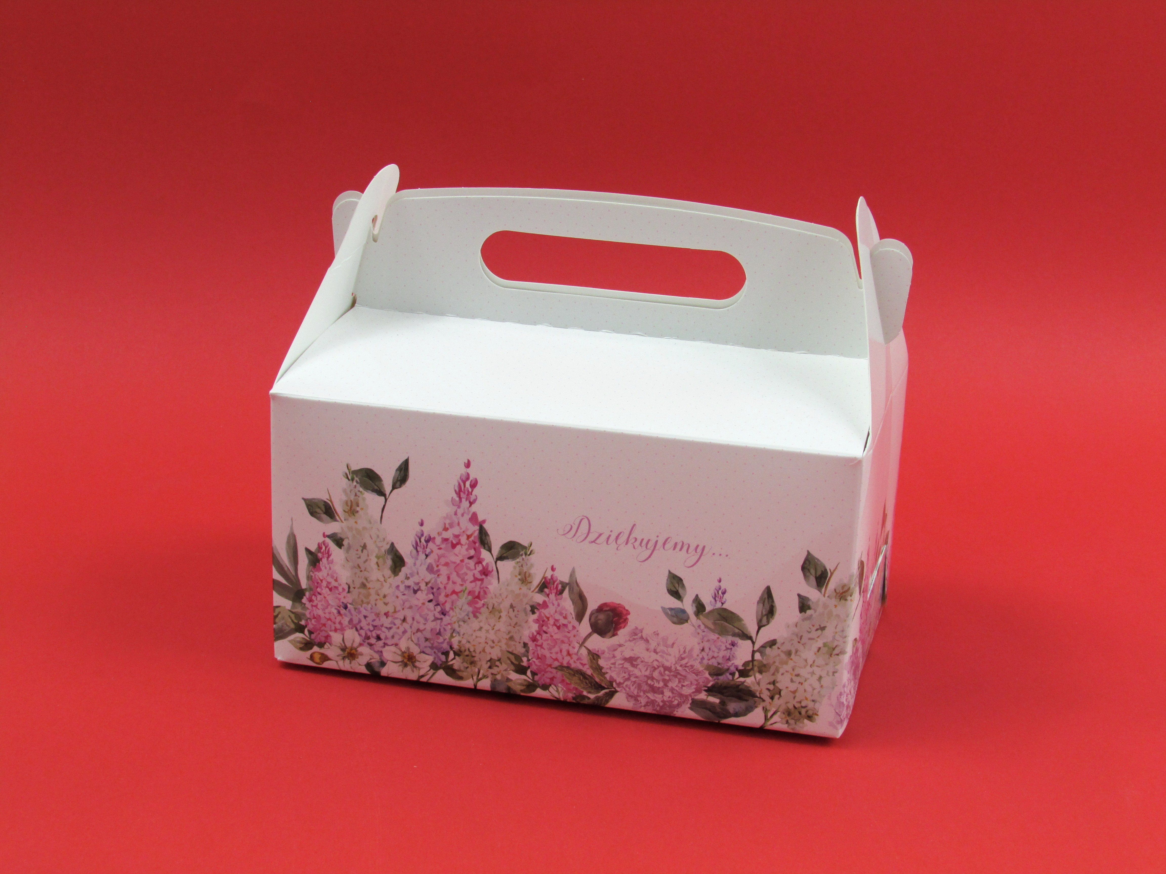 Pudełko z nadrukiem na ciasto/szyszkę z rączką 12x17x8.5 cm 1 szt.