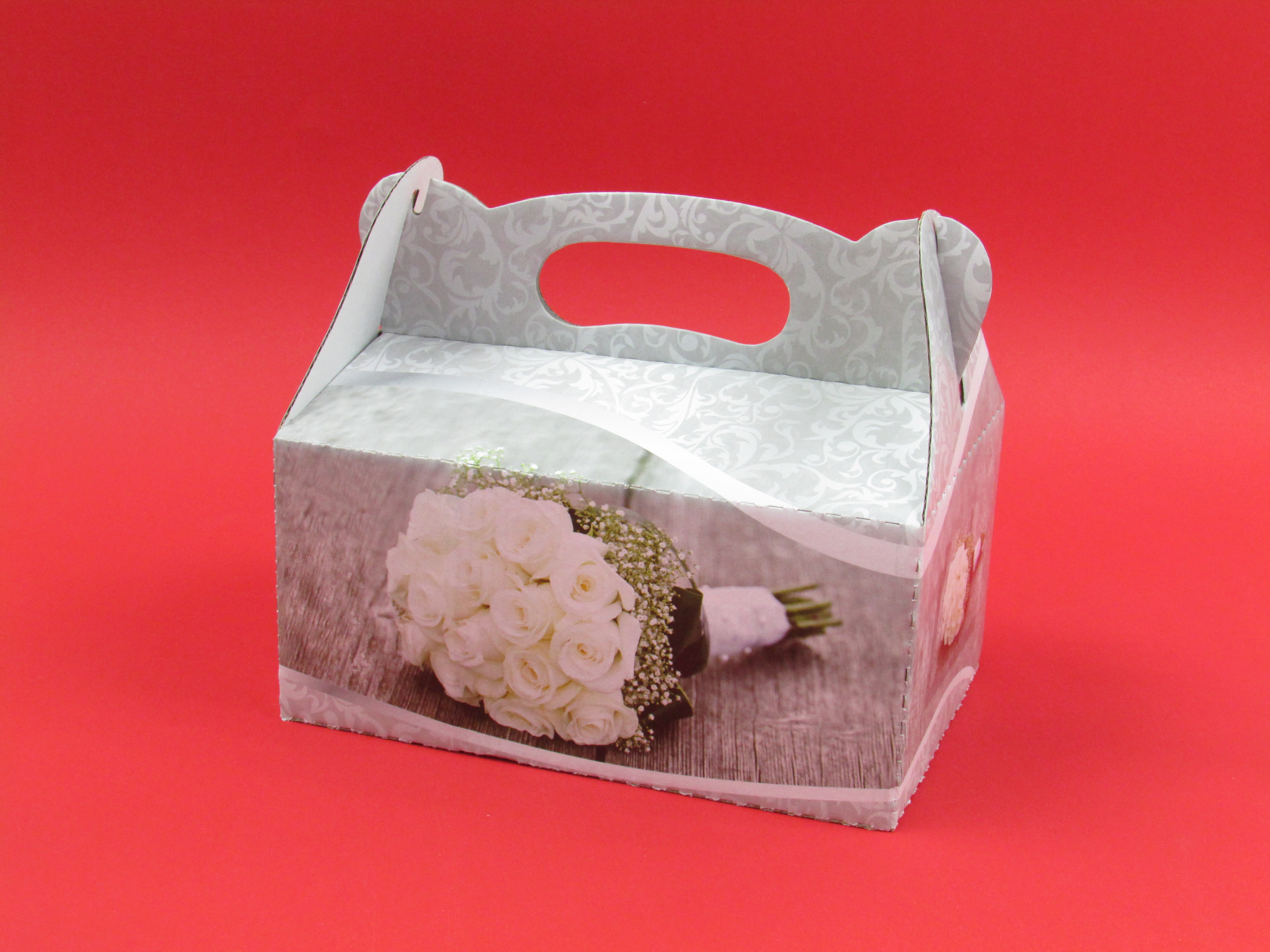 Pudełko z nadrukiem na ciasto/szyszkę z rączką 15x15x8 cm 1 szt.