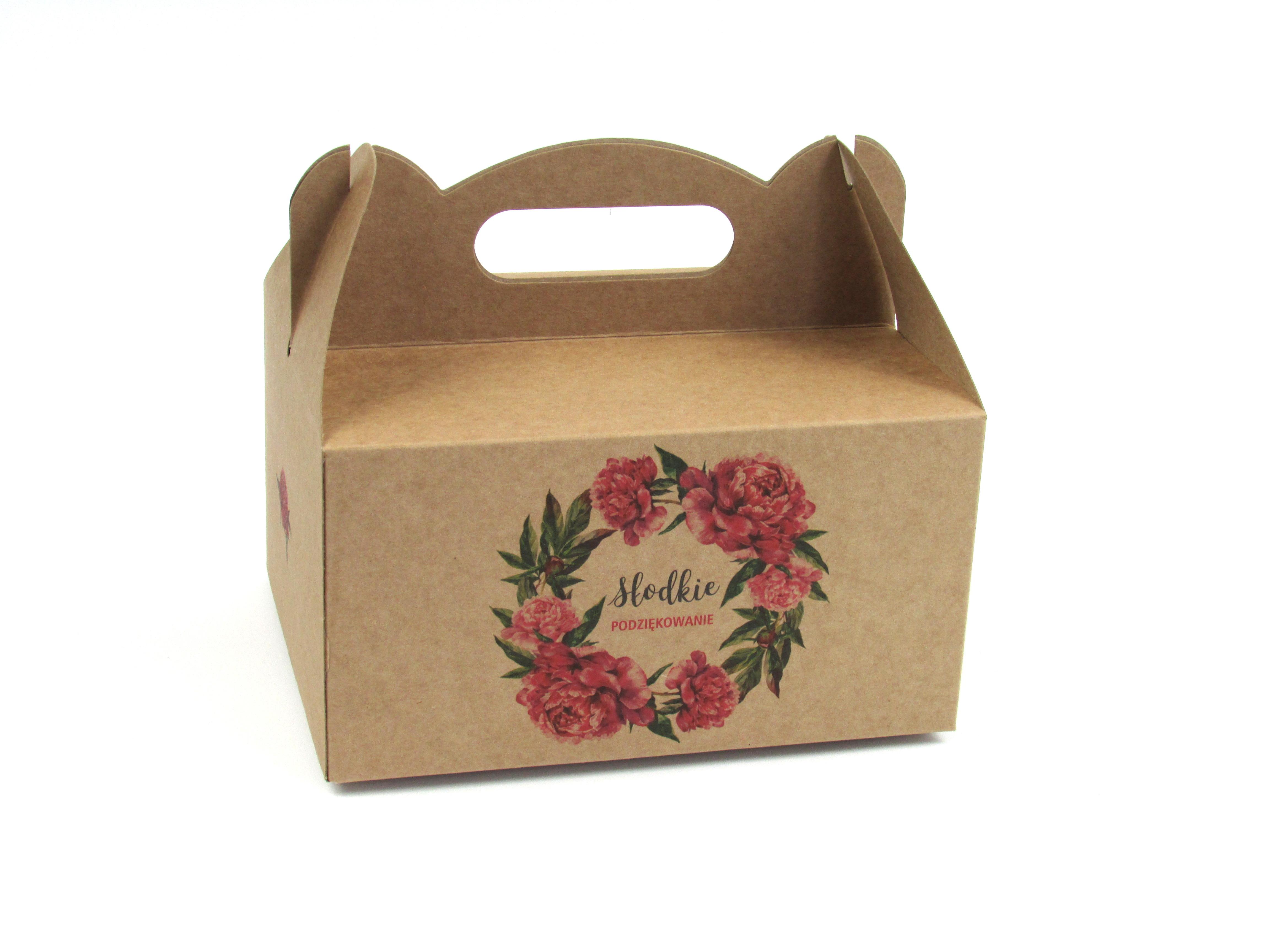 Pudełko na ciasto/szyszkę z rączką kraft (brązowe) 14x17x9 cm 1 szt.